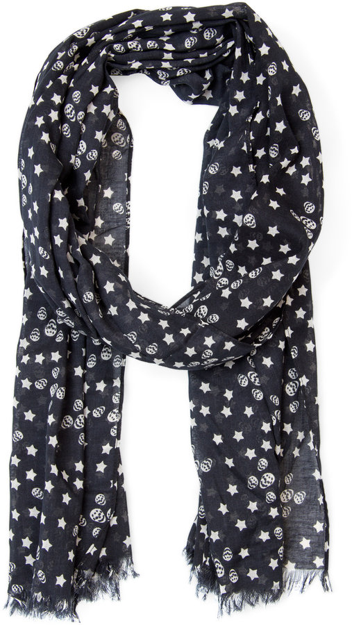 MANGO Skulls and stars foulard