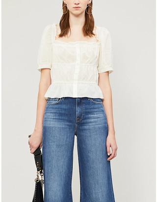 Reformation Sicilia puffed-sleeve organic-cotton blouse