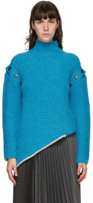 ANDERSSON BELL Blue Rib Detachable Sleeve Turtleneck