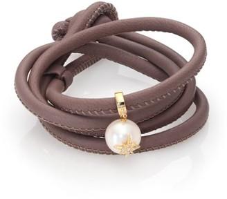 Mizuki Diamond, 12MM White Oval Pearl, 14K Yellow Gold & Leather Wrap Bracelet