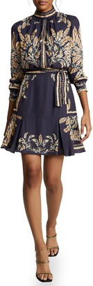Reiss Maria Leaf Print Long Sleeve Fit & Flare Dress
