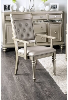 House of Hampton Barney Tufted Upholstered Arm Chair in Champagne