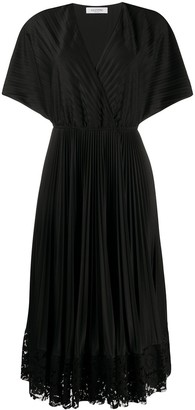Valentino Pleated Wrap Dress