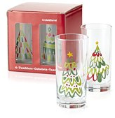 Crate & Barrel Jolly Tree Tumblers Set of Four