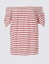 Marks and Spencer Cotton Rich Striped Short Sleeve Bardot Top