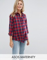 Asos Boyfriend Shirt In Red And Navy Check