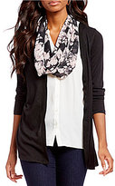 I.N. Studio Long Solid Twofer Shirt with Removable Floral Print Scarf