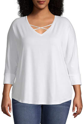 A.N.A Plus-Womens V Neck 3/4 Sleeve T-Shirt