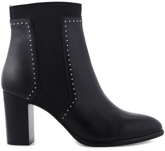 Cosmo Paris Emira Leather Heeled Boots with Studs