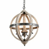 Rish 3 - Light Candle Style Globe Chandelier with Wrought Iron Accents Union Rustic