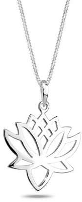 Elli Lotus Flower Women Silver Pendant Necklace of Length 45cm, Pendant size 2.2 cm x 2.8 cm