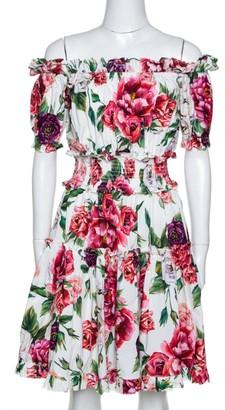 Dolce & Gabbana Multicolor Peony Printed Cotton Poplin Off Shoulder Dress S