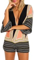 Tenworld Women Casual Jumpsuit Deep V-neck Backless Cotton Butterfly Rompers (XL = US 10)