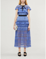 Self-Portrait Daphne ruffled guipure lace midi dress