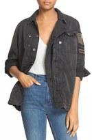 Free People Women's Embellished Military Shirt Jacket