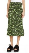 Marni Cheetah Camo Print Stretch Cotton Tulip Skirt