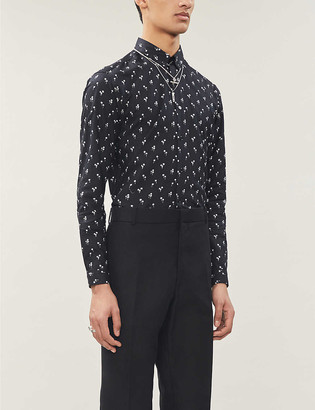 The Kooples Palm-print relaxed-fit cotton shirt