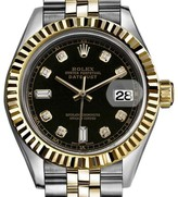 Rolex Datejust 18K Yellow Gold and Stainless Steel with Black Dial 31mm Womens Watch