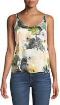 7 For All Mankind Scoop-Neck Floral-Print Silk Satin Tank