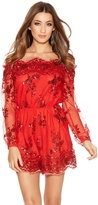 Quiz Red Sequin Mesh Bardot Long Sleeve Playsuit