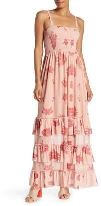 Taylor & Sage Mesh Inset Floral Print Maxi Dress