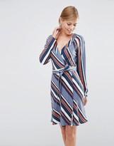 Vila Diagonal Stripe Wrap Dress