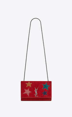 Saint Laurent Monogram Kate Kate Medium In Suede With A Star Patchwork Red Onesize