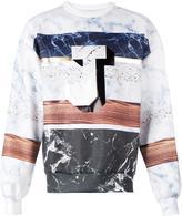 Juun.J marble print sweatshirt