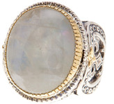 Konstantino Erato Sterling Silver & 18K Gold Framed Oval Labradorite Ring - Size 9