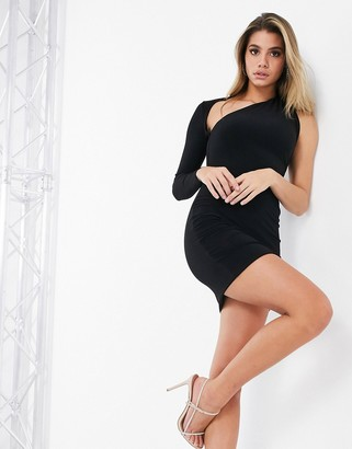 Club L London slash neck one shoulder mini dress in black