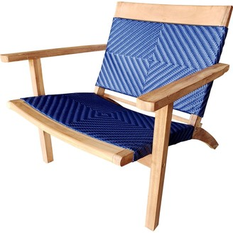 Chic Teak Barcelona Teak Wood Patio Lounge and Dining Chair, Blue