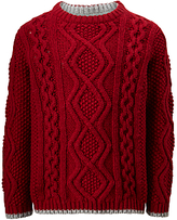 John Lewis Boys' Cable Knitted Jumper, Red