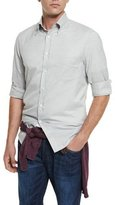 Brunello Cucinelli Solid Twill Long-Sleeve Sport Shirt, Gray