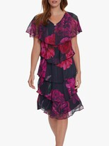 Thumbnail for your product : Gina Bacconi Franca Floral Knee Length Dress, Fuchsia