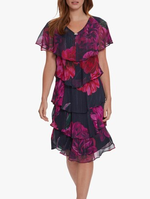 Gina Bacconi Franca Floral Knee Length Dress, Fuchsia