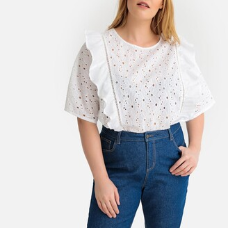 Castaluna Plus Size Floral Broderie Anglaise Embroidered Ruffled Blouse
