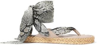 Zimmermann Scarf Tie Leather-trimmed Printed Silk-twill Espadrille Sandals