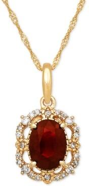 "Macy's Ruby (1 ct. t.w.) & Diamond (1/10 ct. t.w.) 18"" Pendant Necklace in 14k Gold"