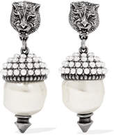 Gucci Silver-tone Faux Pearl Earrings - White