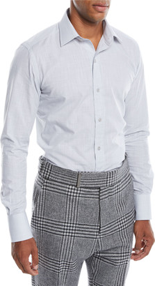 Tom Ford Men's Small Optical Check Pointed-Collar Dress Shirt