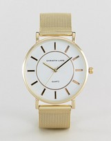 Christin Lars Gold Bracelet Watch With Round White Dial