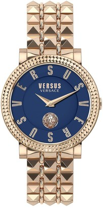 Versace Blue Dial Rose Gold Studded Stainless Steel Bracelet Ladies Watch