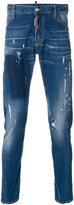 DSQUARED2 distressed slim-fit jeans - men - Cotton/Leather/Polyester/Spandex/Elastane - 44