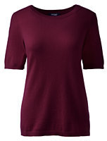 Classic Women's Petite Short Sleeve Cashmere Sweater-Fresh Spruce