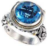 Effy Balissima by Blue Topaz Round Ring in 18k Gold and Sterling Silver (5-3/4 ct. t.w.)