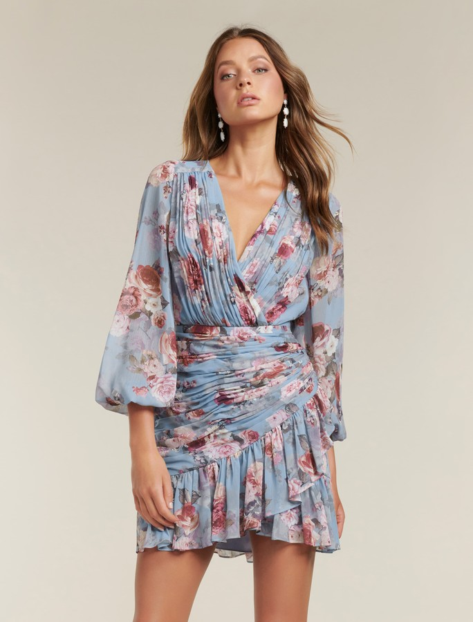 Forever New Valentina Pleated Wrap Mini Dress - Dusty Amethyst Bloom - 4
