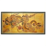 Oriental Furniture Great Chinese Lunar Asian Graduation Gift Idea, 36 by 72-Inch Sky Dragon Gold Leaf Wall Art Screen