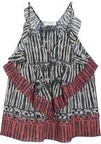 IRO Kaprine Ruffled Printed Georgette Top - Black
