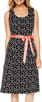 Robbie Bee Sleeveless Dot Print A-Line Dress