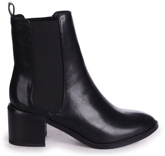 Linzi KAY - Black Nappa Pull On Chelsea Boot With Stacked Block Heel